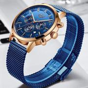 2019 NEW LIGE BLUE CASUAL MESH BELT FASHION QUARTZ GOLD WATCH