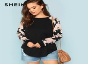 SHEIN FLORAL PRINT RAGLAN SLEEVE CASUAL PLUS SIZE BLACK WOMENS TOP TEE